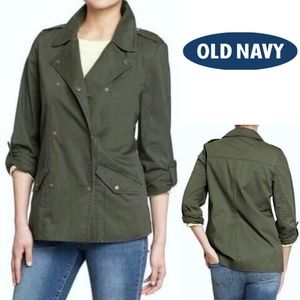 OLD NAVY olive utility double breasted jacket XS